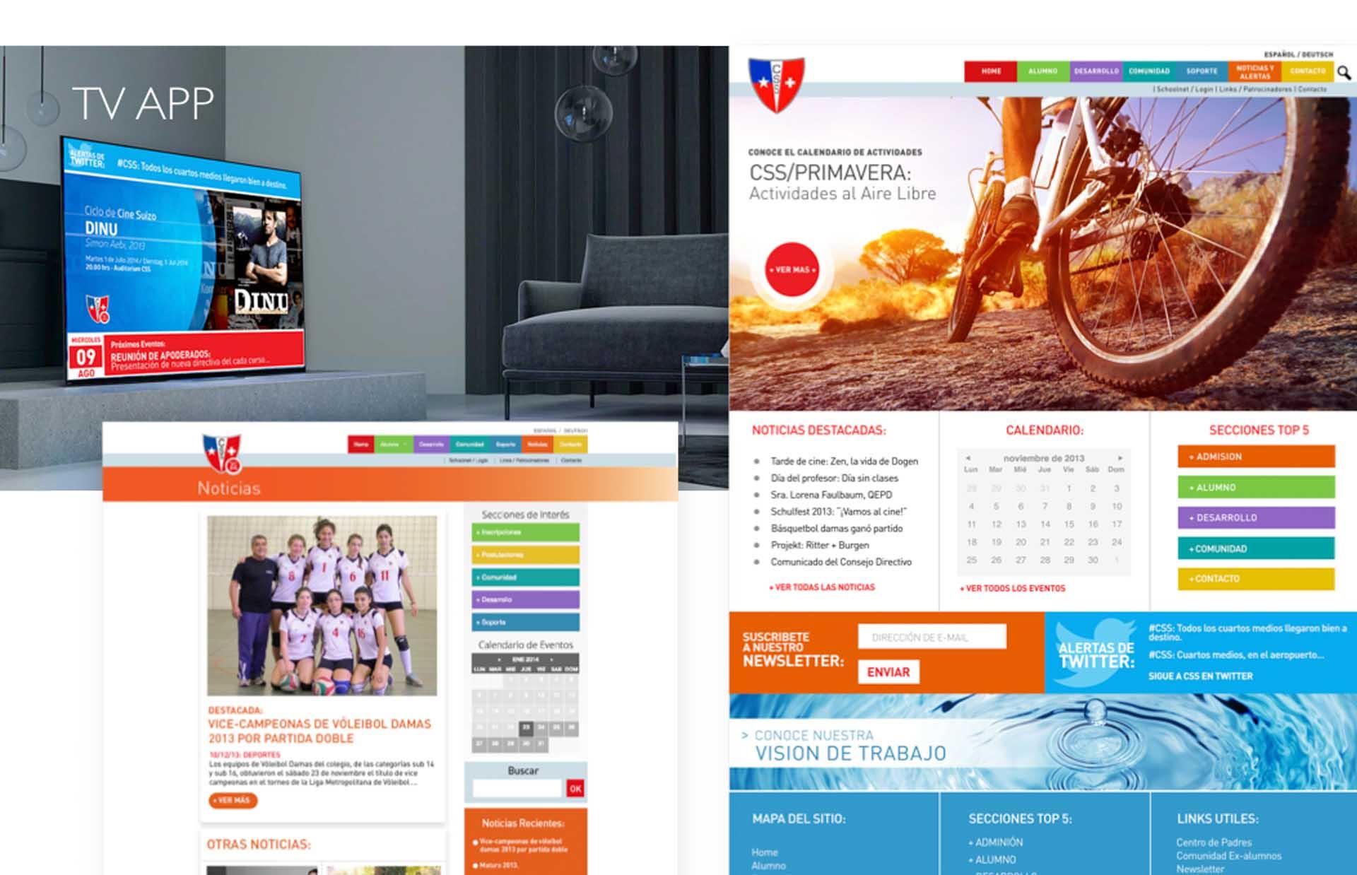 Colegio Suizo de Santiago: Diseño y administración de contenido web y aplicación web tv informativa